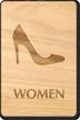 Women Heels Symbol Wooden Restroom Sign