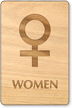 Women Venus Symbol Wooden Restroom Sign