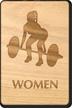 Weight-Lifting Women Wooden Restroom Sign
