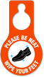 Be Neat Wipe Your Feet Hang Tag