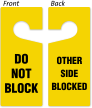 Do Not Block, Other Side Blocked Door Hanger