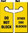 Do Not Block, Other Side Blocked Door Hanger
