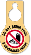 Do Not Bring Food Beverages Hang Tag