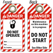 Do Not Operate Maintenance Tag
