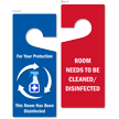 Room Disinfected / Needs Cleaning Door Hanger Tag
