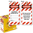 Danger Equipment Locked Out Tag-in-a-Box with Fiber Patch