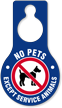 No Pets Except Service Animals Hang Tag