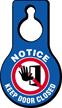 Notice Keep Door Closed Hang Tag