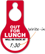Out For Lunch Write-On Time Hang Tag