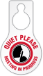 Quiet Please Meeting In Progress Door Hang Tag