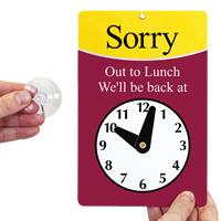 Sorry Out To Lunch Be Back Clock Signs
