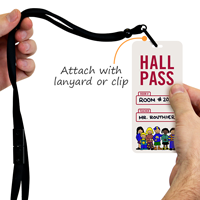 School Hall Pass ID Tag With School Kids Symbol