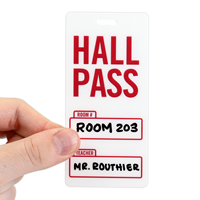 Hall Pass With Red Color For School