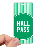 Hall Pass Green Colored Stripes Design Tags