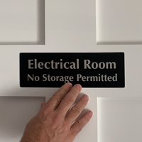 Electrical Room No Storage Permitted on a door