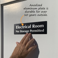 Electrical Room No Storage Permitted made from durable anodized aluminum