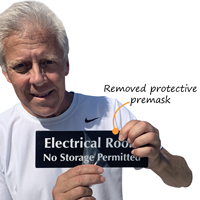 Electrical Room No Storage Permitted with protective premask