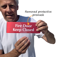 Fire Door Keep Closed Sign with protective premask