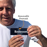Restroom sign with protective premask