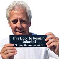 Keep door unlocked door sign