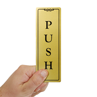 Push Gold DiamondPlate™ Door Sign
