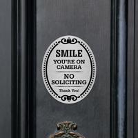 No Soliciting Thank You DiamondPlate Door Sign