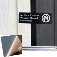 No Guns, Knives Or Weapons Allowed On Premises (with symbol) Door Sign