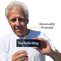 No-soliciting-sign-with-protective-premask