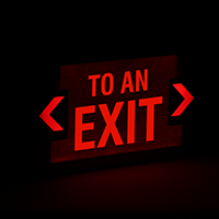 To An Exit - Red Lettering, LED Exit Sign