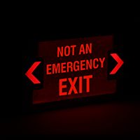 LED Not An Emergency Exit Sign with Punch-Out Arrows