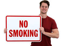 No Smoking Sign (red letters) with border