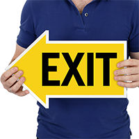 Exit Left Die-Cut Directional Signs