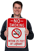 No Smoking Within 25 Feet Of Library Signs