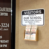 Visitors Welcome to School Register at office Signs
