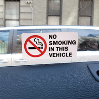 No Smoking In This Vehicle label with graphic