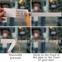 Keep Door Closed Vinyl Cut Glass Window Decals