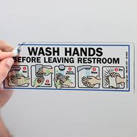 Wash Hands Before Leaving Restroom Mirror Decals