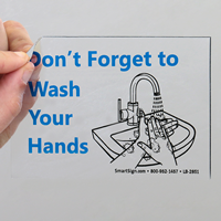 Don't Forget To Wash Your Hands Mirror Decals