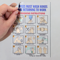 Employees Hand Washing Instructions Mirror Decals