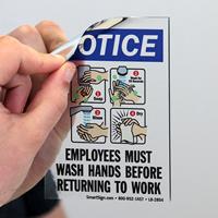 Employees Wash Hands Before Returning Work Mirror Decals