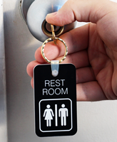 Double-Sided Rest Room Unisex Bathroom Keychain