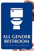 All-Gender Braille Restroom Sign with Toilet Symbol