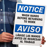 Notice Wash Hands Before Returning Signs Bilingual