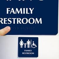 Family Restroom Men, Women, Child Signs