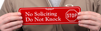 No Soliciting, Do Not Knock ShowCase™ Wall Signs