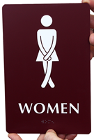 Cross legged Women's Bathroom Humor Signs