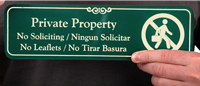 Bilingual Private Property - No Soliciting Engraved Signs