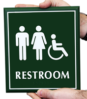 Unisex Restroom Door Sign with Handicap Symbol