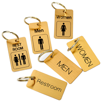 Restroom Brass Engraved Key chain