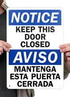 Bilingual Keep This Door Closed OSHA Notice Signs